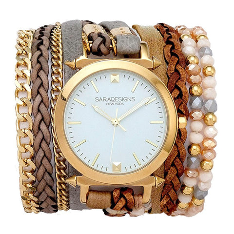 ALL CHAIN GOLD WRAP WATCH