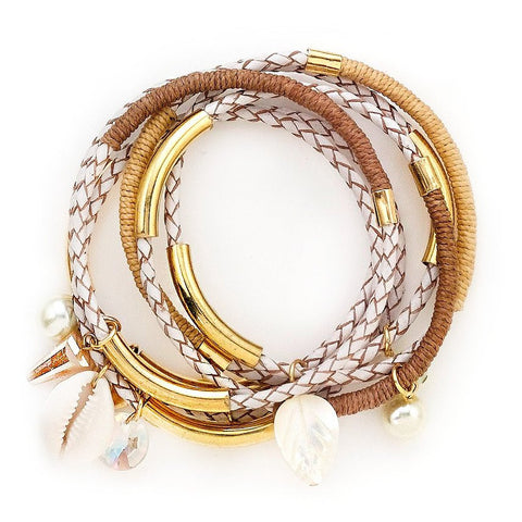 MILI LEATHER WRAP CHOKER - CAMEL