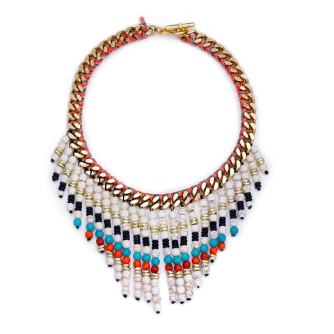 INDIE BEADED CHOKER- WHITE
