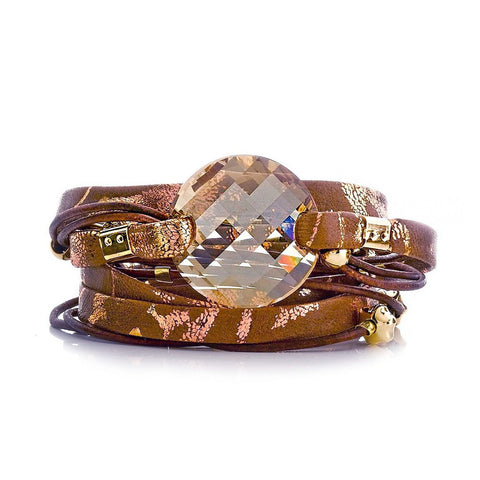 GOLD DUST DOUBLE WRAP LEATHER BRACELET