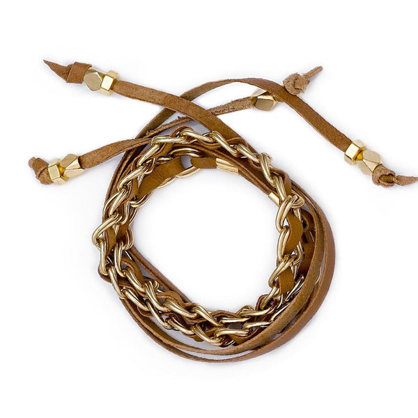Lidia Choker Camel Gold Lambskin Leather Sara Designs