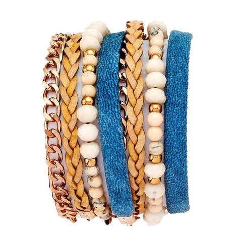 LATTE DOUBLE WRAP LEATHER BRACELET