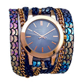Lucid Urban Round Wrap Watch Rose Gold Sara Designs