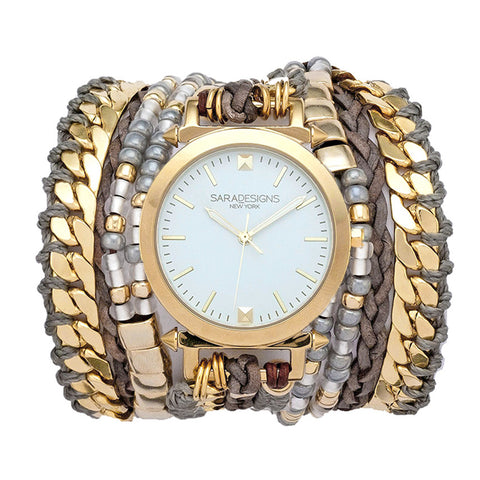 SWAROVSKI WRAP WATCH- TAUPE