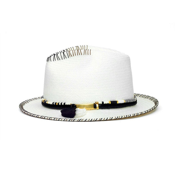 Malia White Diamond Hat Panama Genuine