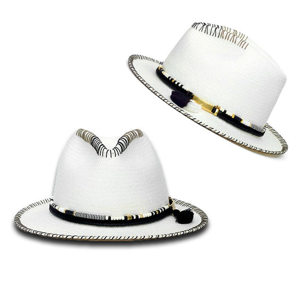 Malia White Diamond Hat Panama Hat Collection
