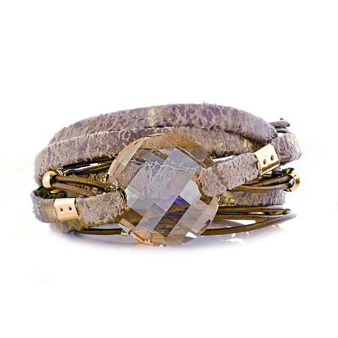 TAUPE DOUBLE WRAO LEATHER BRACELET