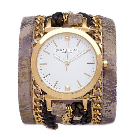URBAN SPIKE ANTIQUE BROWN WRAP WATCH