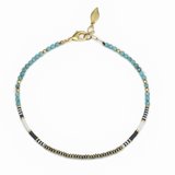 MALAYA BEADED CHOKER- TURQUOISE MIX