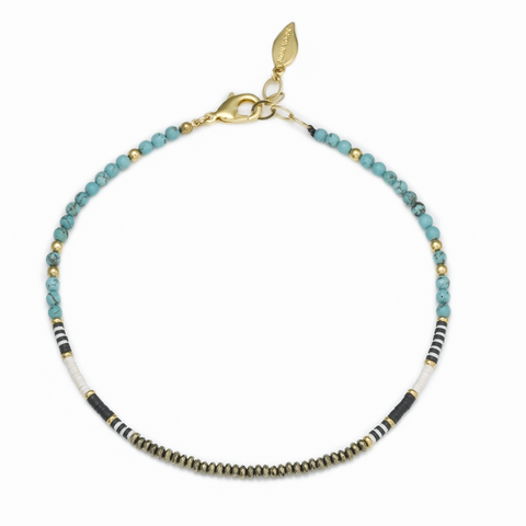 NINA BEADED TRIPLE BRACELET- BLUE