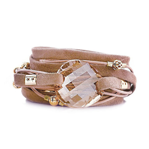 WINE DOUBLE WRAP LEATHER BRACELET
