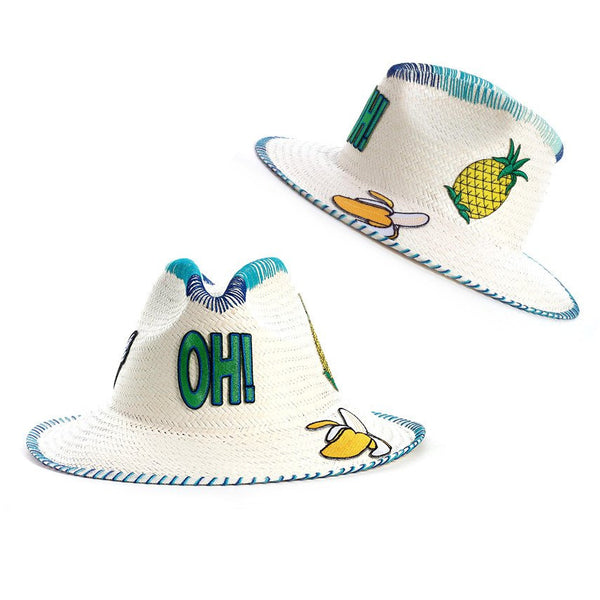Oh! Patch White Fedora Hat Panama Handmade