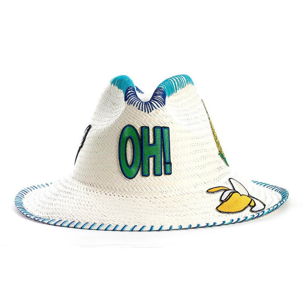 Oh! Patch White Fedora Hat