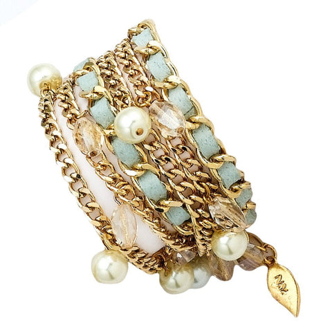 NOA PRIPEL STRETCHY BEADED BRACELET- MINT AND GOLD