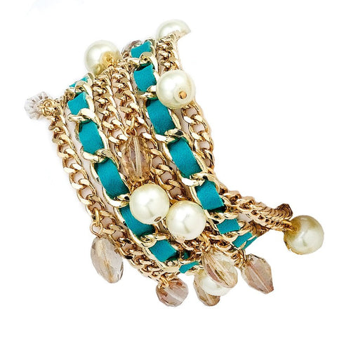 PEARL PARTY MINT WRAP BRACELET