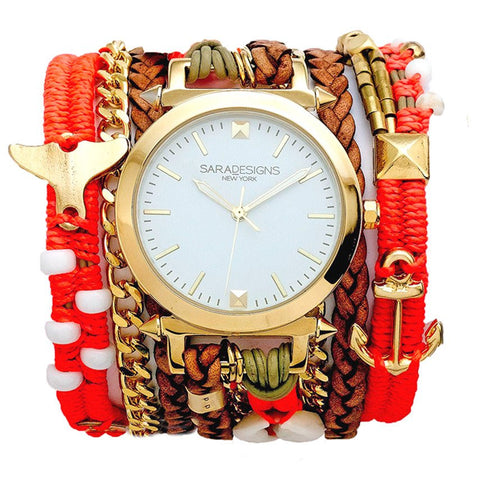 URBAN SPIKE PRINTED DENIM WRAP WATCH