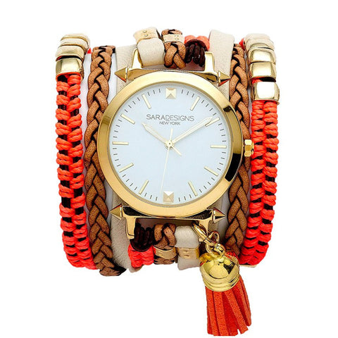RED SUEDE URBAN LITTLE WRAP WATCH