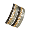 GOLD FLAKE DOUBLE WRAP LEATHER BRACELET