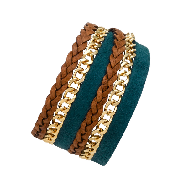 TEAL DOUBLE WRAP LEATHER BRACELET
