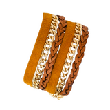 MUSTERED DOUBLE WRAP LEATHER BRACELET