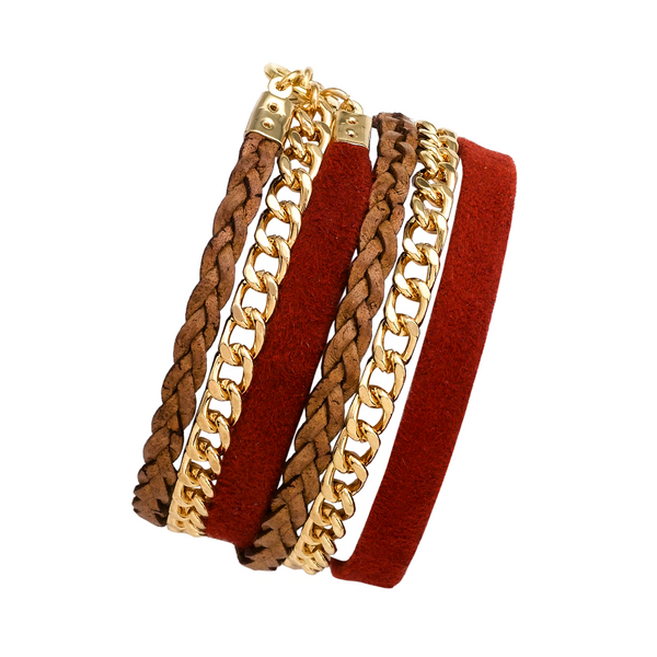 HOT RED DOUBLE WRAP LEATHER BRACELET