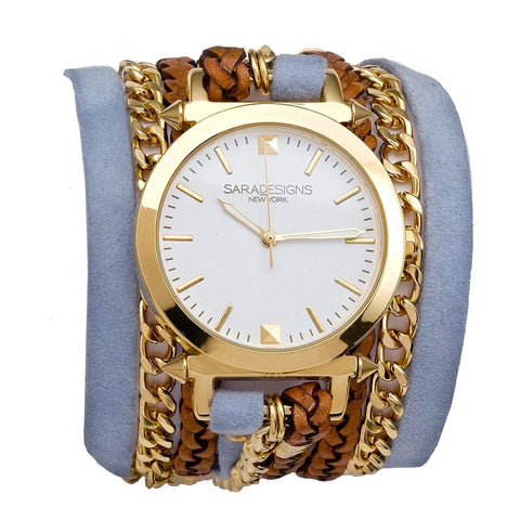 LILAC AND GOLD MACRAME WRAP WATCH