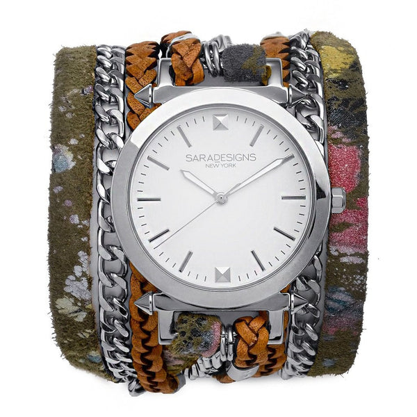 Splash Urban Spike Wrap Watch Silver Sara Designs