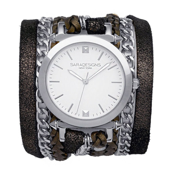 Star Urban Spike Wrap Watch Silver Sara Designs