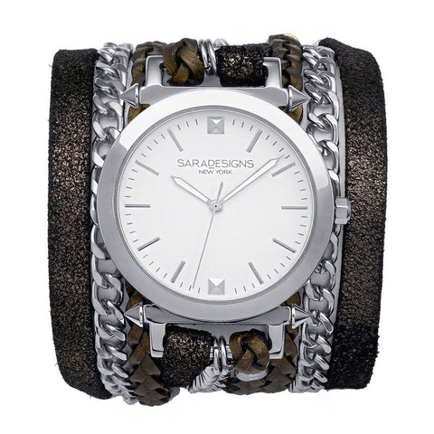 DENIM URBAN SPIKE WRAP WATCH -DENIM/ SILVER