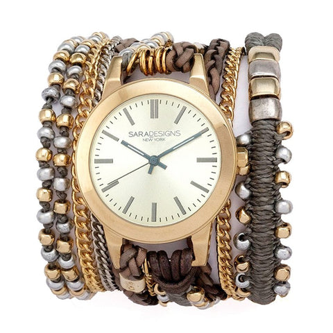 URBAN SPIKE BLACK LACE WRAP WATCH