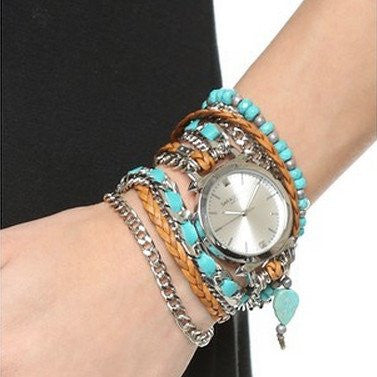 Turquoise Wrap Watch Leather Sara Designs