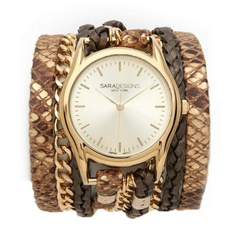 URBAN SPIKE TAUPE WRAP WATCH