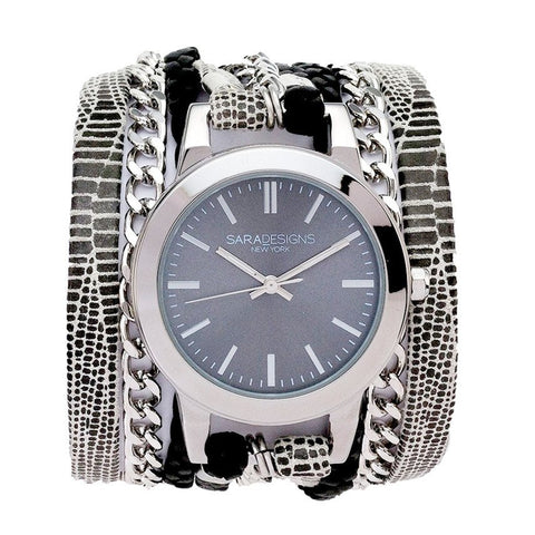 SPLASH URBAN SPIKE WRAP WATCH - SILVER