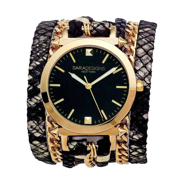 Urban Spike Black Lace Wrap Watch Sara Designs