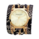 Urban Spike Black Lace Wrap Watch Yellow