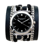 Urban Spike Black Wrap Watch Dial Color Black Sara Designs