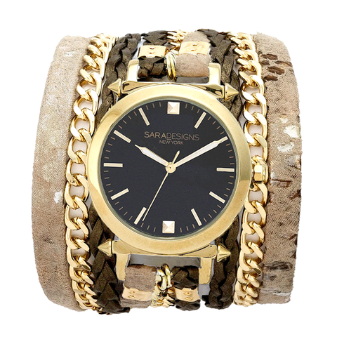 URBAN SPIKE BLACK WRAP WATCH