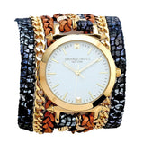 Urban Spike Printed Denim Wrap Watch Sara Designs