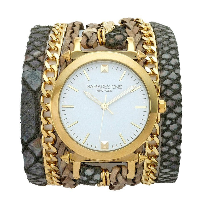 Urban Spike Smoke Grey Wrap Watch Sara Designs