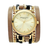 Urban Spike Taupe Wrap Watch Yellow Sara Designs