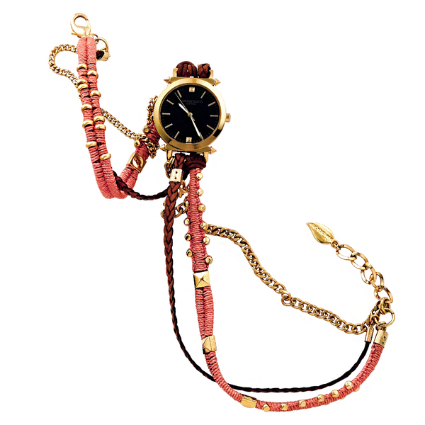 CORAL AND GOLD MACRAME WRAP WATCH