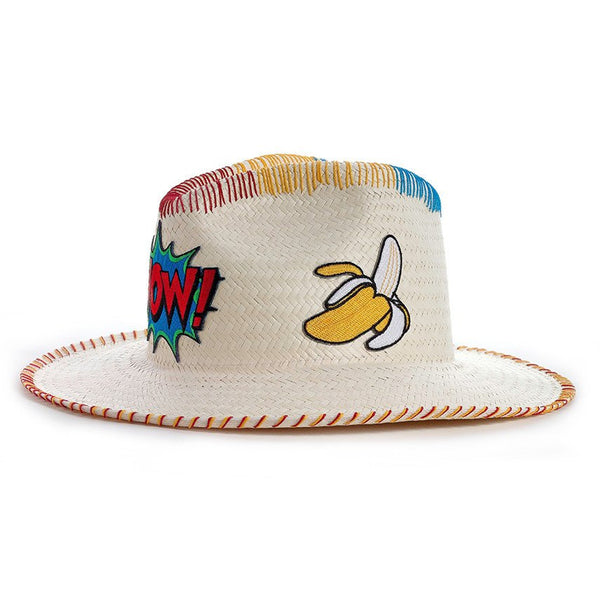 Wow! Patch White Fedora Hat Handmade Hat