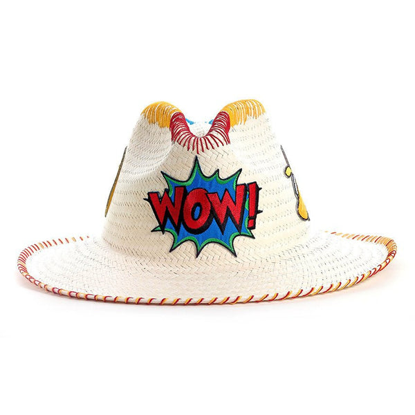 Wow! Patch White Fedora Hat Sara Designs