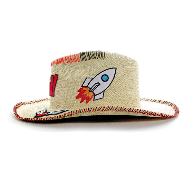Yow! Patch Natural Fedora Hat Handmade Hat