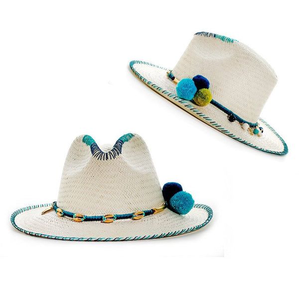 Zoe Blue White Fedora Hat Collection