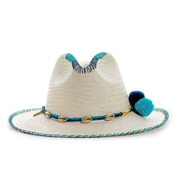 Zoe Blue White Fedora Hat