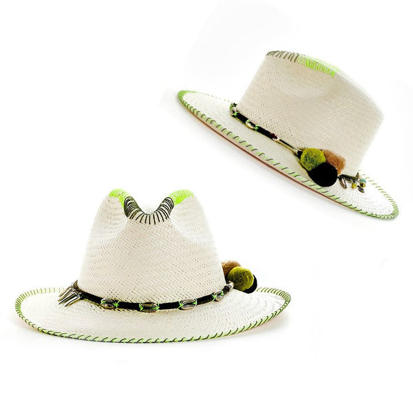 Zoe Lime White Fedora Hat Collection