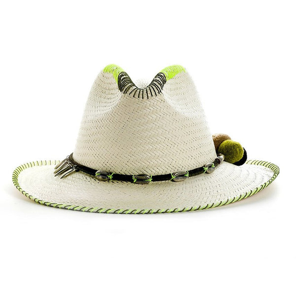 Zoe Lime White Fedora Hat Sara Designs