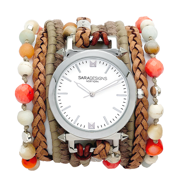 Zoe Taupe Wrap Watch Sara Designs