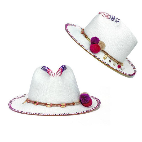 Zoe Violet White Fedora Hat Collection